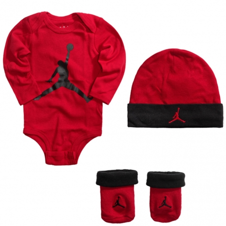 JORDAN 3PK JUMPMAN L/S HAT/BODYSUIT/BOOTIE SET (BEBÉS)
